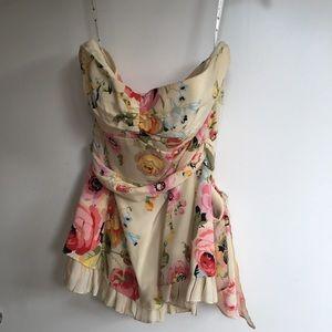 Nanette Lepore floral silk strapless top